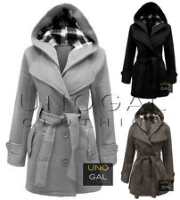 WOMENS BELTED BUTTON COAT NEW LADIES HOODED MILITARY JACKET SIZES 8-14