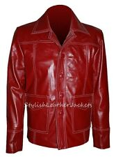 'FIGHT CLUB' Tyler Durden Brad Pitt Red Leather Jacket