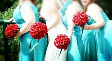 15pc set:Apple Red Bouquet&Boutonniere corsage wedding flowers.PICK RIBBON COLOR
