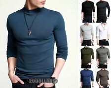 9 Colors Men's Basic Tee Turtlenecks T-shirts Long Sleeve Thick Stretch Slim Fit