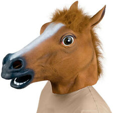 Horse Cheval Head Mask Creepy Halloween Costume Fur Mane Latex Dress Masque NEUF