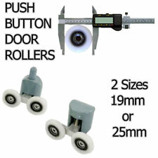 PUSH BUTTON WHEEL SHOWER DOOR CUBICLE ENCLOSURE 19mm or 25mm SIZES AVAILABLE