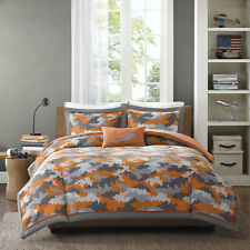 MODERN CAMO DIGITAL CAMOUFLAGE ORANGE GREY SILVER BOY COMFORTER SET & PILLOW NEW