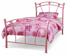 Hearts Design Pink Metal 3ft 90cm Single Bed or with a Mattress
