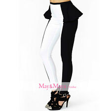 High-Rise Peplum Waist Legging Pant Trousers for Women Girl