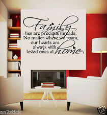 """"""" Family Ties Are Precious Threads """"Wall Quotes,Home Decor,Wall Stickers w151"""