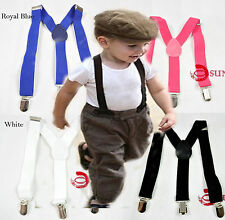 Kids Boys Girls Solid COLORS Elastic Suspenders Braces Grids 1 to 8 years old