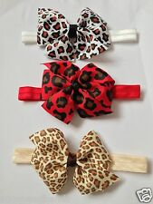 Animal Print Double Bow Baby Girl Headband Newborn Toddler 0-3 + Headbands