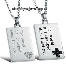 UNIQUE LOVE QUOTE COUPLE NECKLACE SET ROMANTIC XMAS GIFTS HIM HER HUSBAND WIFE