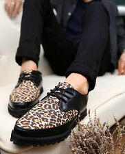6C Mens Punk Chunky Spike Leopard Oxford Flat High Platform Creeper Brogue Shoes