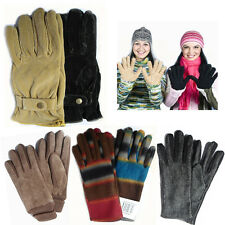 Pair of Ladies Winter Gloves Cozy Fleece Herringbone Thermal Hands Warmer Glove