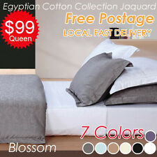 Egyptian Cotton Blossom Jacquard Quilt/Doona/Duvet Cover+Pillowcase Set