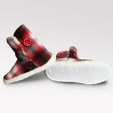Teen slippers high boots  RED chequered/checked + button WOMEN - FAB FOR WINTER