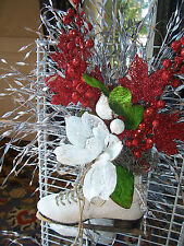 Floral Ice Skate Decoration Door Wall Hanging Christmas,Holiday,Winter Gift