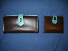 ili Leather Brown/Turquoise Checkbook & Euro Style Coin Credit Card Wallet