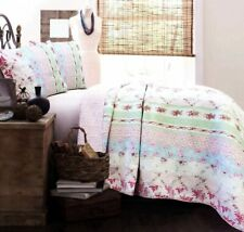 BEAUTIFUL PINK WHITE FLUFFY RUFFLED LEAF TEXTURED COMFORTER SET ALL SIZES NEW!