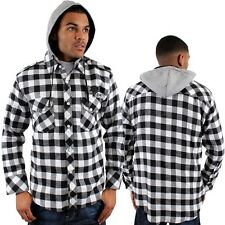 Raw Blue Hooded Casual White Check Shirt Jacket Work Money Time Hip Is Hop