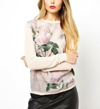 New Chic Womens Long Sleeve Flower Sweater Knit T-shirt Tops Pullover Jumper SML