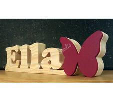 PERSONALISED Name Plaque Sign with Butterfly - Child Baby Gift - Solid Wood