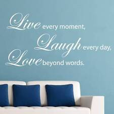 LIVE EVERY MOMENT LAUGH LOVE Quote Decal WALL STICKER Art Home Decor SQ1036