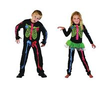 CHILD MULTI COLOUR SKELETON COSTUME FOR BOYS AND GIRLS HALLOWEEN FANCY DRESS