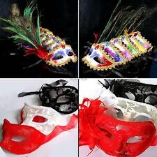 Venetian Mardi Gras Masquerade Ball Costume Party Mask With Lace Flower/Feather