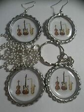Musical Bottle Cap Fun Necklace, Earrings, Key Chain, 5 Options!