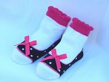 MUD PIE Baby Socks! Black White Pink with Bows Looks like shoes!  SO CUTE!!! NWT