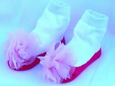 MUD PIE Baby Socks! Pink & White with Bows Looks like shoes!  SO CUTE!!! NWT