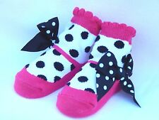 MUD PIE Baby Socks! Pink White Black Polka Dot with Bows Shoes!! SO CUTE!!! NWT