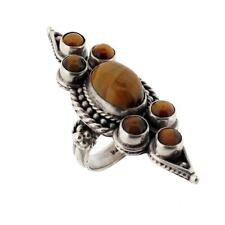 Large Brown Tigers Eye Sterling Silver Ring Cocktail Size 8 Jewelry