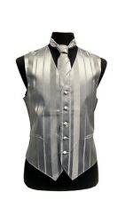 MENS SILVER TONE ON TONE TUXEDO/SUIT VEST, TIE AND BOWTIE SET