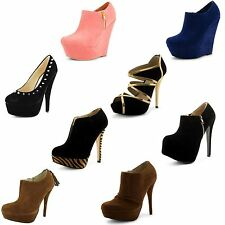 Womens Ladies Platform High Heel Wedge Stiletto Shoes Boots Party Sandals Size