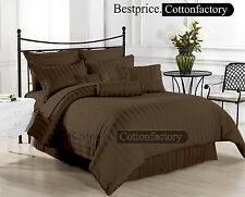 800-1000-1200TC Luxury Hotel Brown Striped UK Size Bedding 100% Egyptian Cotton