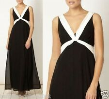 Ex Debut Debenhams Chiffon Maxi Dress Party Black & White Size 8-16 RRP £120