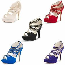 Womens Ladies Strappy High Heel Platform Stiletto Peep Toe Sandals Shoes Size UK