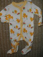 Gymboree NWT Unisex Yellow Duck footed pajamas with snap front