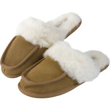 Womens Soft Warm Genuine Suede Mules Slippers Ladies Wool Lined Durable Sole
