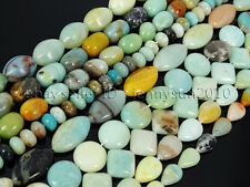 Natural Colorful Amazonite Gemstone Beads 16'' Nugget Coin Rice Square Rectangle