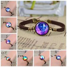 Night Stars Moon Galaxy Cabochon Dome pendant Friendship Bracelet For Gift
