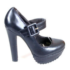WOMEN SHOES MARY JANE WIDE STRAP BLACK LEATHER LOOK PLATFORM BLOCK HIGH HEELS
