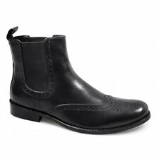 Lucini Mens Leather Pull On Brogue Formal Smart Casual Ankle Chelsea Boots Black
