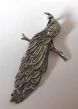 Large Peacock Pendant Heavy Silver Tone Metal Bird for Jewellery Making 60mm