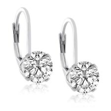 Sterling Silver .925  Round 6mm Top Quality CZ Lever Back Earrings - Many Colors