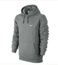 Nike Men's 611457-063 Classic Swoosh Fleece Hoodie Pull Up Gray All Size