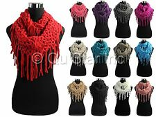 Women's Stylish Knit Solid Color Fishnet Fringe Net Loop Eternity Infinity Scarf