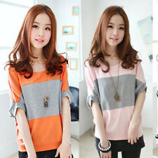 Ladies Retro Loose Batwing T-shirt Blouse Tops Striped Casual Shirt Sweatshirt