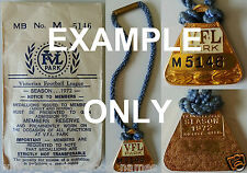 VFL Park Football MEMBERSHIP MEDALLION + Rope & Original Envelopes 1970's 1980's