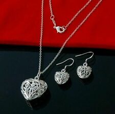 Silver Plated Necklaces Pendant Chain & Earrings Sets Heart / Rose / Leaf Gift