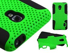 LG Optimus F6 D500 MS500 - Dual Layer Hard & Soft Rubber Fusion MESH Hybrid Case